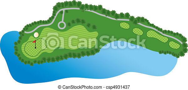 golf course hole with bunker and water vectors illustration search rh canstockphoto com golf club clipart golf course clipart