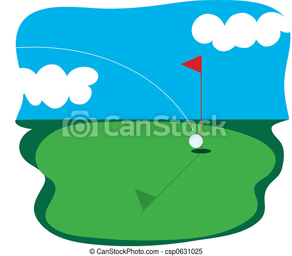 Golf course. Golf ball going into a hole in one. Golf Hole Clip Art