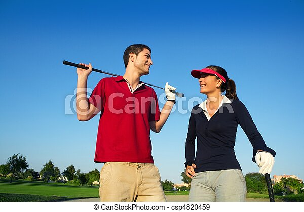 Golf course young happy couple players couple talking - csp4820459
