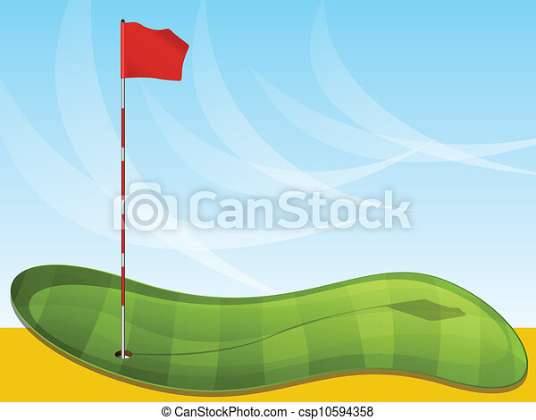 Golf Flag Background Golf Green Illustration With Flag Pin And Sky