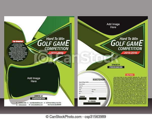 Golf Flyer Template And Magazine Design Vector Illustration Vector