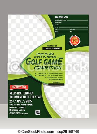 Golf Flyer Template Design Magazine Vector Illustration