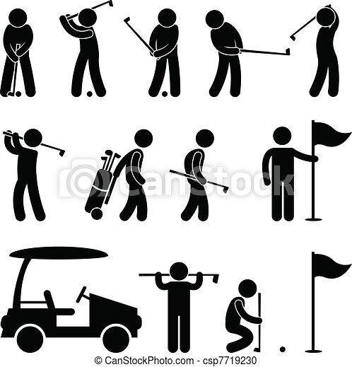 Golfero balancea gente caddy - csp7719230