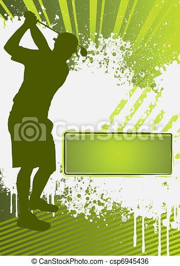 golf, grunge, gabarit, affiche - csp6945436