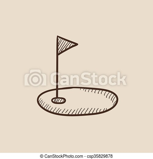 Golf hole with flag sketch icon. - csp35829878