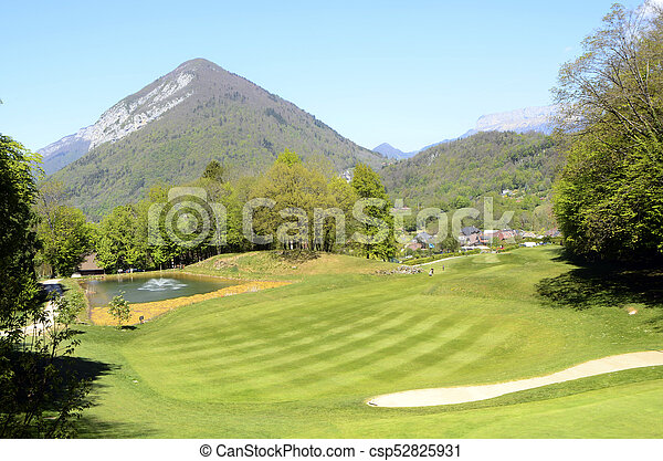 Golf in Talloires, Annecy lake, France - csp52825931