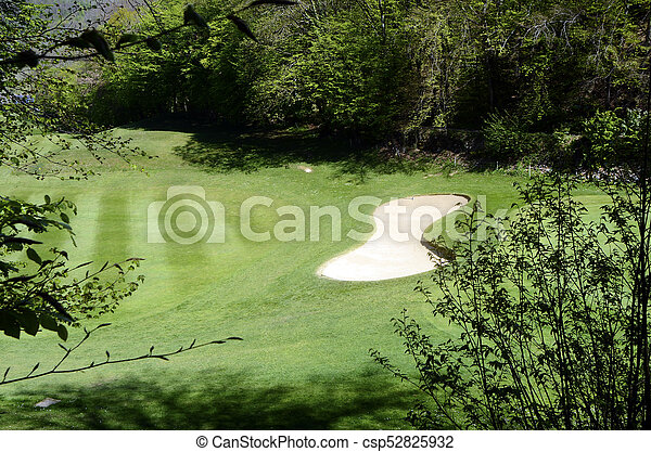 Golf in Talloires, Annecy lake, France - csp52825932