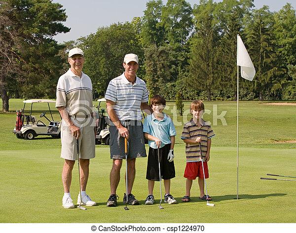 Familia jugando al golf - csp1224970