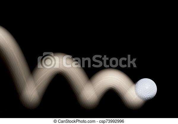 golf, movimiento, pelota negra, rastro, fondo., saltar - csp73992996