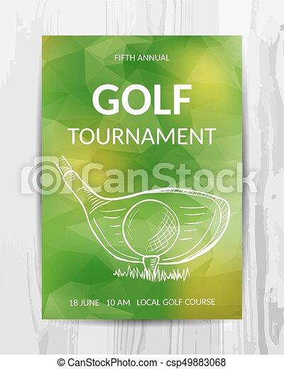 Golf party invitation card sport tournament flyer vector template stopboris Choice Image
