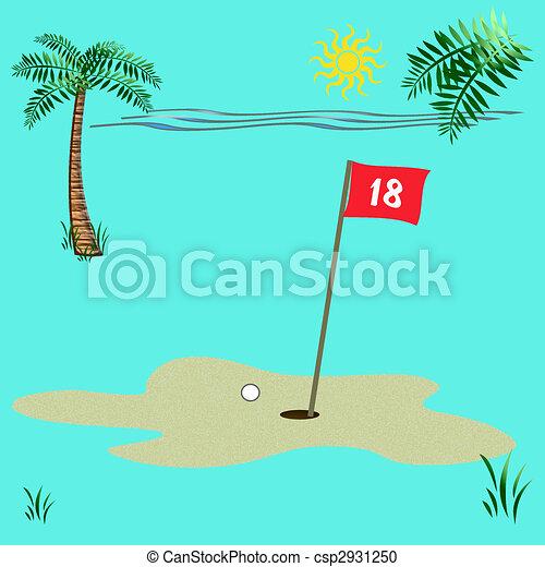 Golf, playa. Golf, marco, ilustración, tropical, bandera, álbum de ...