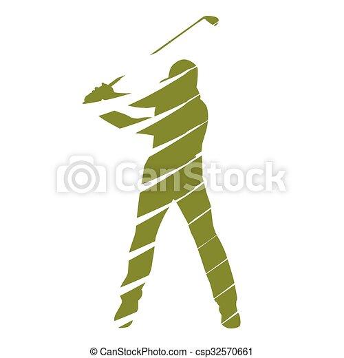 Golf player, abstract vector golfer - csp32570661
