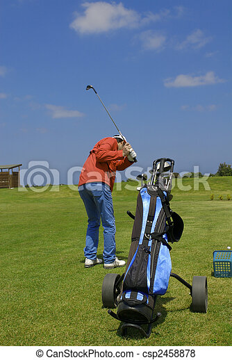golf player and bag - csp2458878