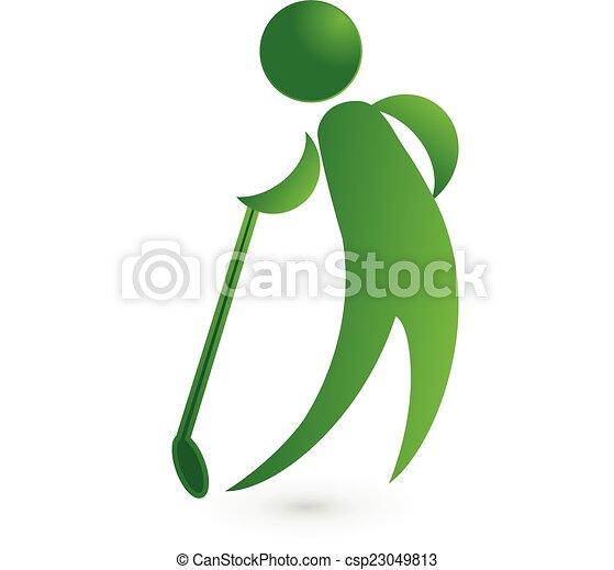 Golf player green figure logo image vector icon - csp23049813