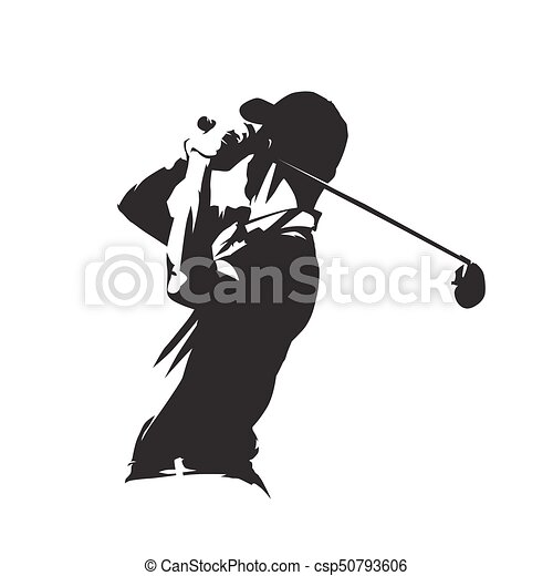 Golf Player Icon Golfer Abstract Vector Silhouette