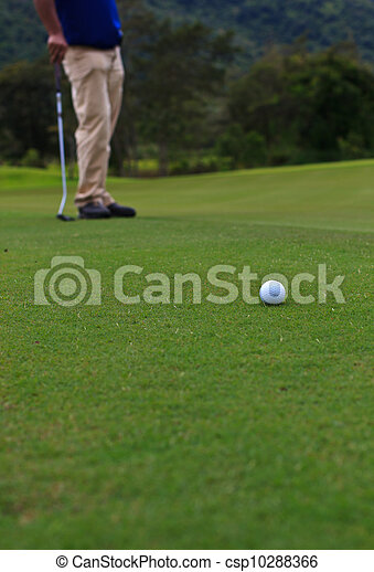 Golf player on the green - csp10288366