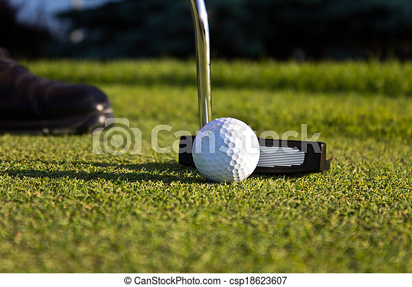 Golf player putting on the green - csp18623607