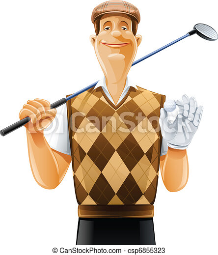 golf player with club and ball - csp6855323