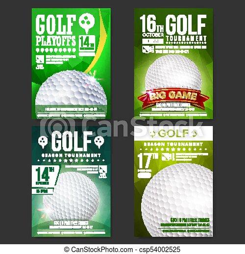 Golf Poster Set Vector Design For Sport Bar Promotion Golf Ball Modern Tournament Sport Event Announcement Banner