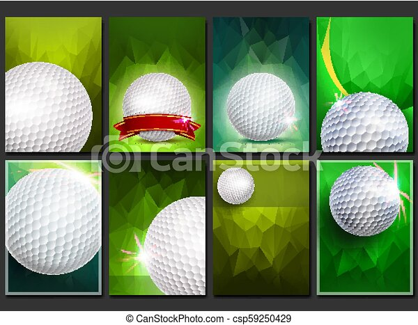 Golf Poster Set Vector Empty Template For Design Promotion Golf Ball Modern Tournament Sport Event Announcement Banner