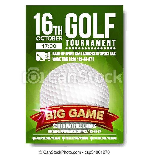 Golf Poster Vector Golf Ball Vertical Design For Sport Bar Promotion Tournament Championship Flyer Design Golf Club