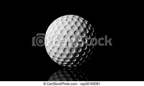 Bola de golf, aislada en fondo negro con reflejo. - csp30169381