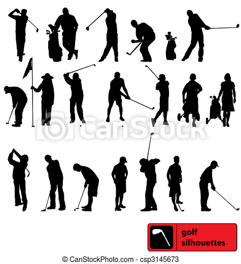 Golf Silhouettes Collection Many Different Golf Player Silhouettes