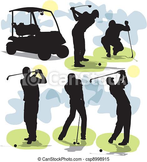 Pon vectores de siluetas de golf - csp8998915