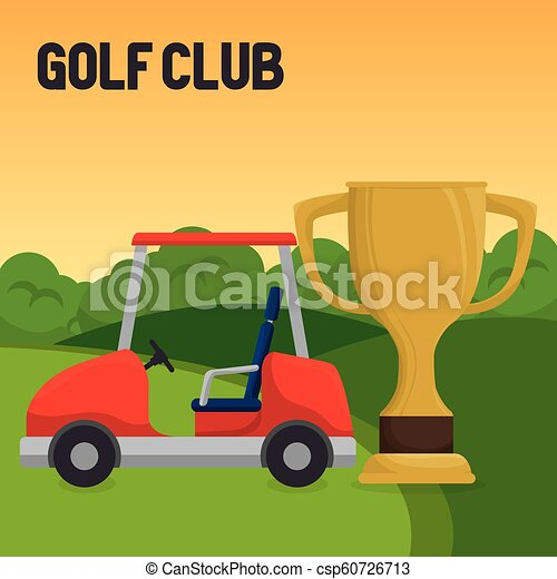 Golf Sport Club With Trophy Cup Vector Illustration Design