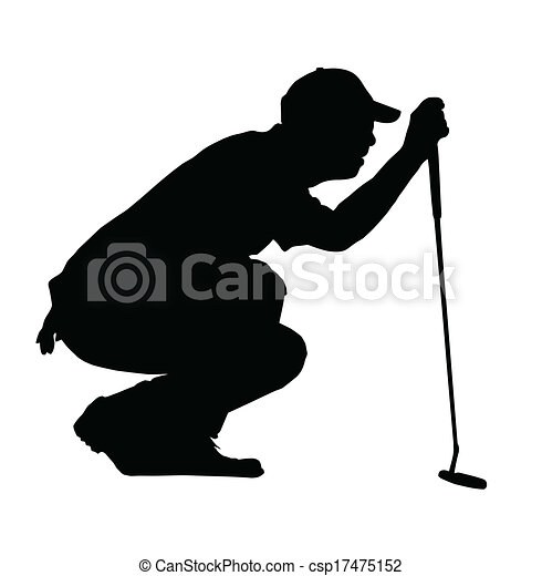 Golf Sport Silhouette Golfer Kneeling Judging Putting Angle