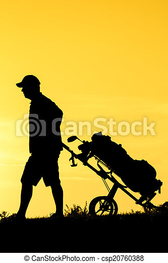 Golf Sunset Silhouette - csp20760388
