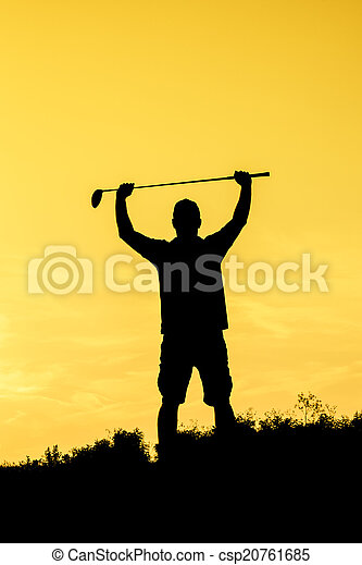 Golf Sunset Silhouette - csp20761685