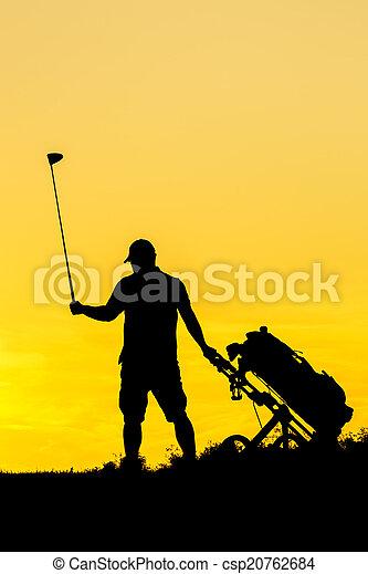 Golf Sunset Silhouette - csp20762684