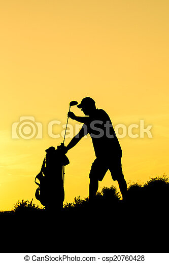 Golf Sunset Silhouette - csp20760428