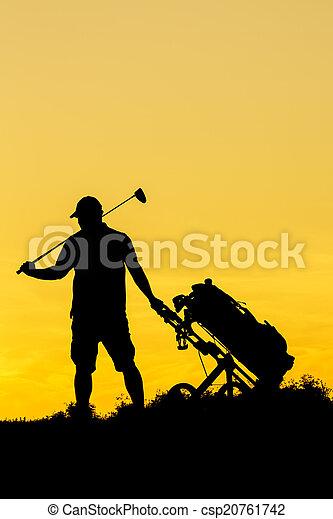 Golf Sunset Silhouette - csp20761742