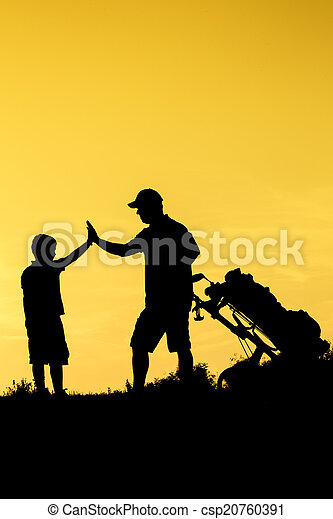 Golf Sunset Silhouette - csp20760391