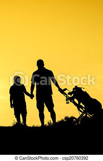 Golf Sunset Silhouette - csp20760392