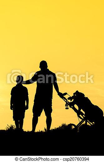 Golf Sunset Silhouette - csp20760394