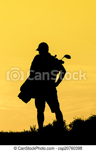 Golf Sunset Silhouette - csp20760398