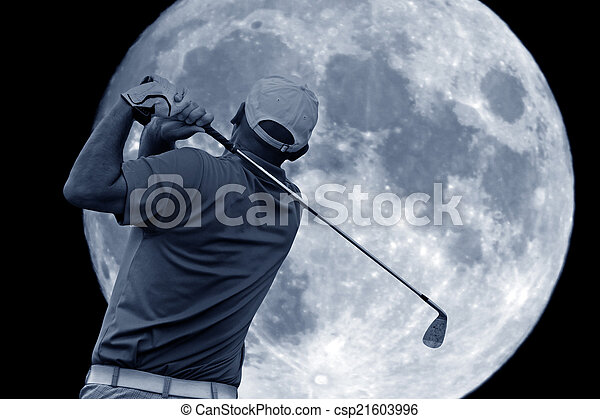 golf swing and a big moon - csp21603996