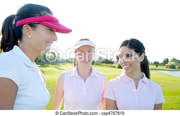 Golf three woman in a row green grass course - csp4767819