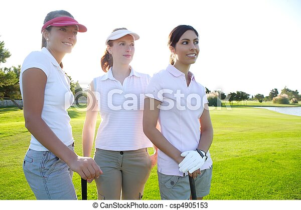 Golf three woman in a row green grass course - csp4905153