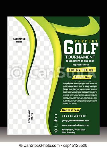 golf tournament flyer magazine layout design
