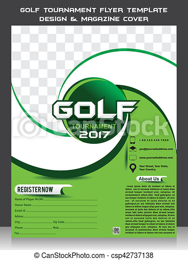Golf Tournament Flyer Template Design Magazine Cover Vector