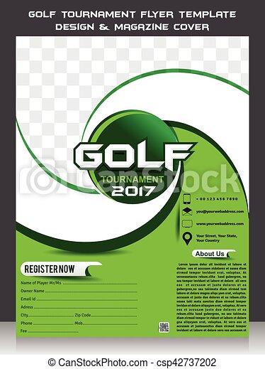 Golf tournament flyer template design & magazine cover vector ...