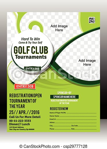 Golf Tournament Flyer Template Design Illustration Vector