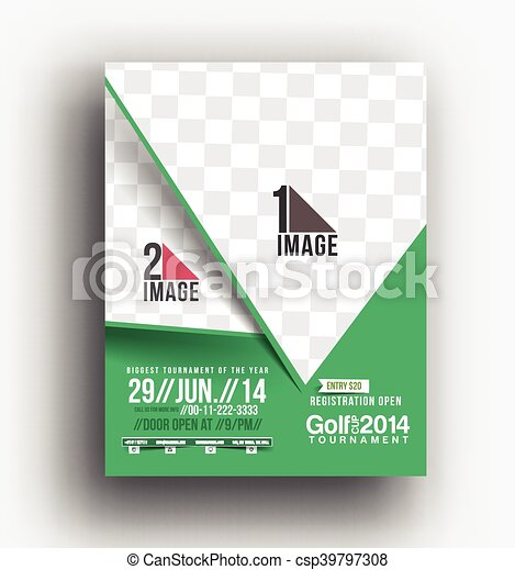 Golf Tournament Front Back Flyer Template Vector Clipart Search