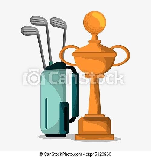 Golf Trophy And Bag Clubs Vector Illustration Eps 10