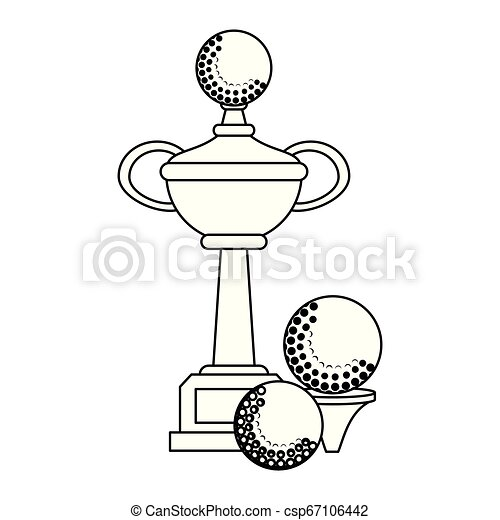 Golf Trophy Cup Symbol In Black And White Golf Trophy Cup With Balls Symbol Vector Illustration Graphic Design