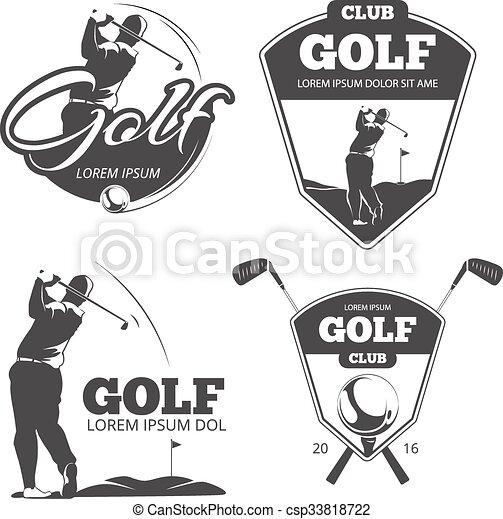 golf, vendange, étiquettes, emblèmes, vecteur, insignes - csp33818722
